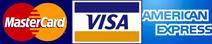 Master Card, Visa, Amex